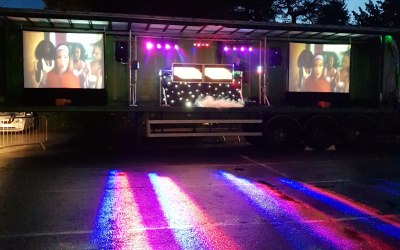 A. S. PARTY EVENTS large events outdoor video disco 40ft wide stage