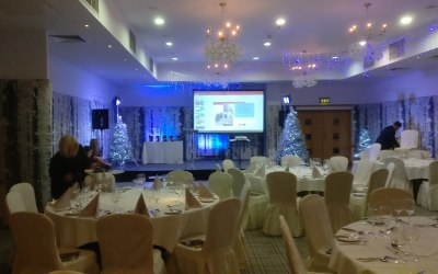 Indoor event with PA, Screens and lighting