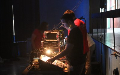 Audio and Lighting engineers at a large event