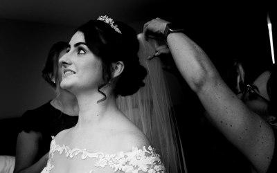 Bride & Veil in B&W