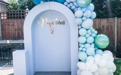 Baby boys birthday arch and balloons