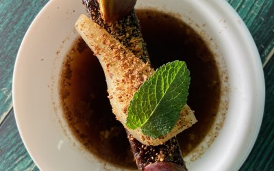 Fig and Miso Broth with Sake poached Pear and Almond Brittle
